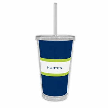boatman geller stripe navy & lime beverage tumbler