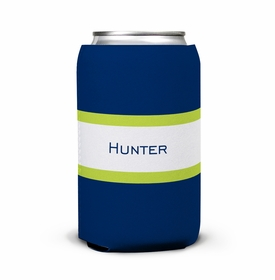 boatman geller stripe navy & lime can koozie