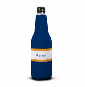 boatman geller stripe navy & tangerine bottle koozie