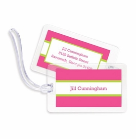 boatman geller stripe raspberry & lime bag tags