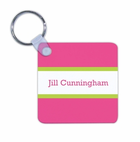 boatman geller stripe raspberry & lime key chain