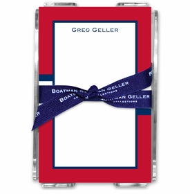 boatman geller stripe red & navy acrylic note sheets
