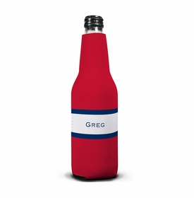 boatman geller stripe red & navy bottle koozie