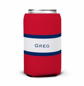 boatman geller stripe red & navy can koozie