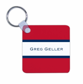 boatman geller stripe red & navy key chain