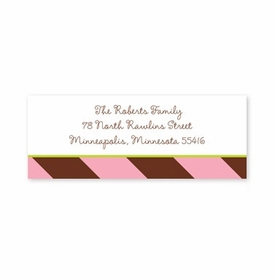 boatman geller stripes pink & brown address labels