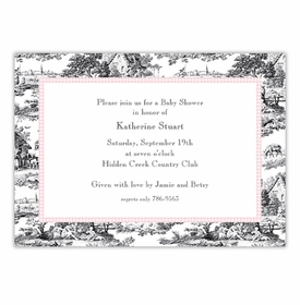 boatman geller toile black with pink check large flat notecard