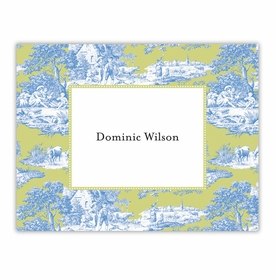 boatman geller toile blue & green foldover note