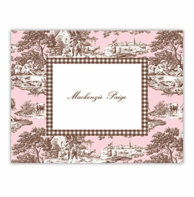 boatman geller toile pink & brown foldover note