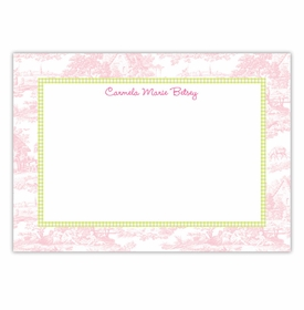 boatman geller toile pink with lime check large flat notecard