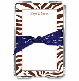 boatman geller zebra chocolate note sheets in acrylic