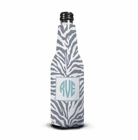 boatman geller zebra gray bottle koozie