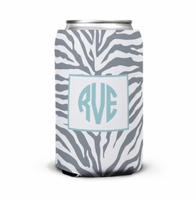 boatman geller zebra gray can koozie