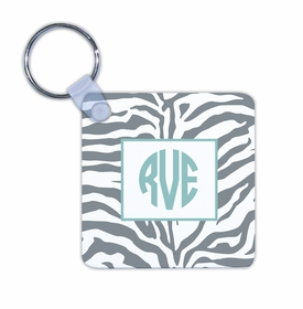 boatman geller zebra gray key chain