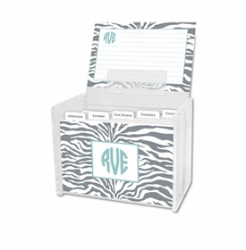 boatman geller zebra gray recipe box
