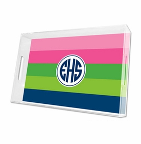 bold stripe pink, green & navy lucite tray - large