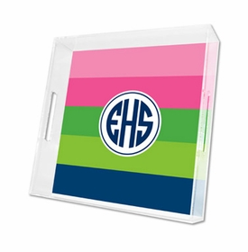 bold stripe pink, green & navy lucite tray - square