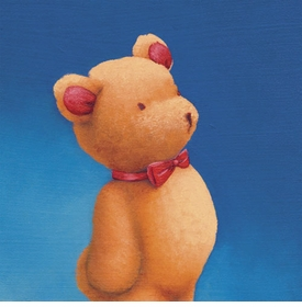 bow tie bear wall art canvas reproduction