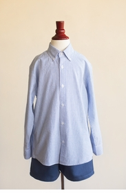 boys button down shirt - blue bulldog