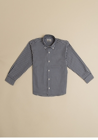 boys button down shirt - navy gingham