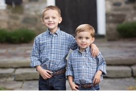 boys buttondown blue plaid shirt