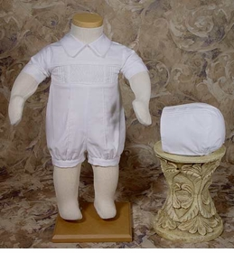 boys cotton smocked christening romper