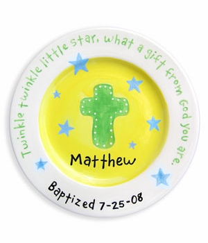boys cross and blue stars plate