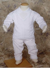 boys knit christening set
