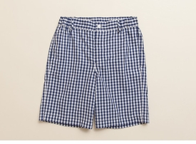 boys navy gingham shorts