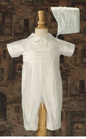 boys silk christening coverall