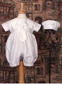 boys silk christening romper with sailor collar