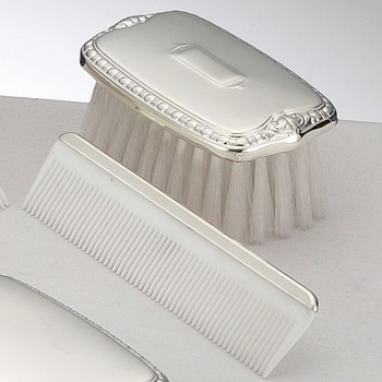 boys silver brush and comb set