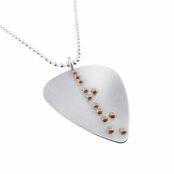 braille love guitar pick necklace