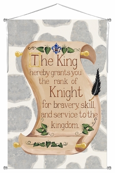brave knight scroll grey stone personalized wall hanging
