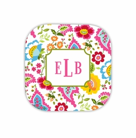 bright floral hardback rounded coaster<br>(set of 4)