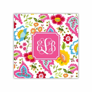 bright floral square paper coaster<br>set of 50