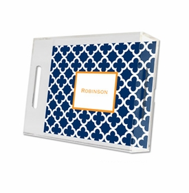 bristol tile navy lucite tray - small