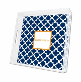 bristol tile navy lucite tray - square