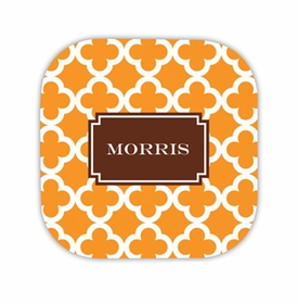 bristol tile tangerine hardback rounded coaster<br>(set of 4)