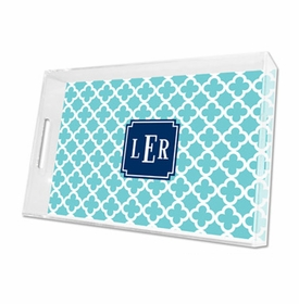 bristol tile teal lucite tray - large