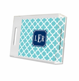 bristol tile teal lucite tray - small