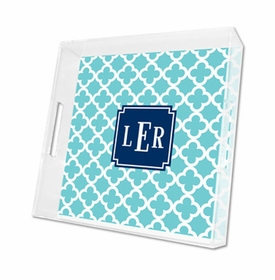 bristol tile teal lucite tray - square