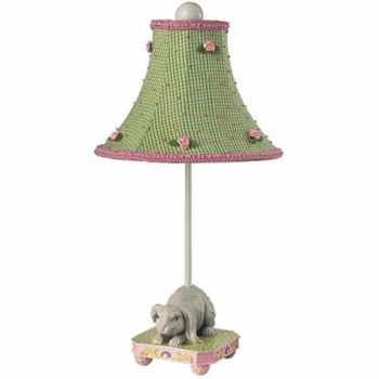 bunny lamp-green check rose shade - unavailable