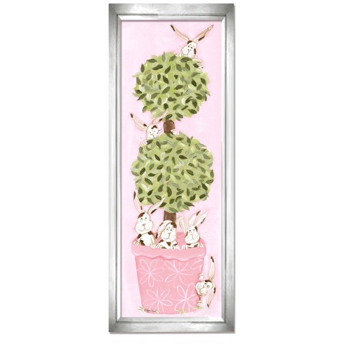 bunny topiary wall art - pink frame