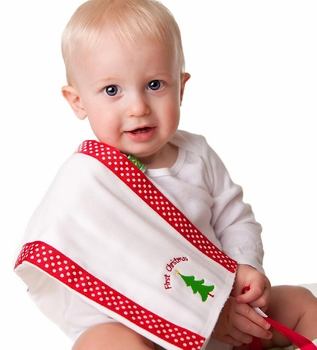 burp cloth set and christmas bib