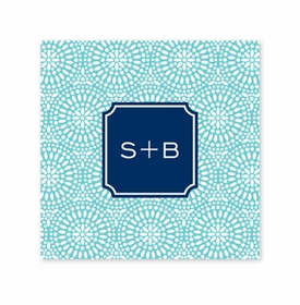 bursts teal coaster square paper coaster<br>set of 50
