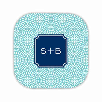 bursts teal hardback rounded coaster<br>(set of 4)