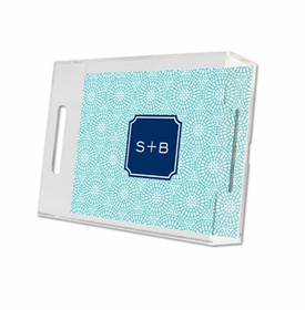bursts teal lucite tray - small