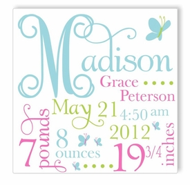 butterfly dreams in blue canvas birth announcement