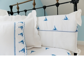 by the sea sailboats crib bumper pad